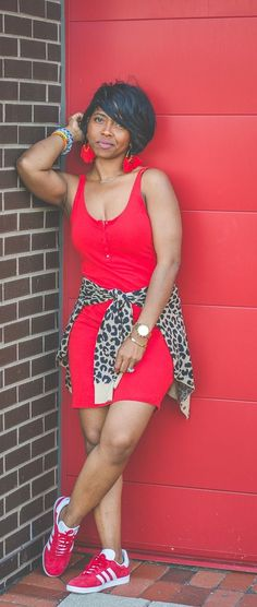Red Dress, Leopard, Leopard Cardigan, Adidas, Big Earrings, Sweenee Style, Indianapolis Fashion Blog