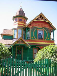You  must admit they did a fantastic paint job, highlighting all the wonderful architectural details typical of average Victorian homes.  This is EXACTLY what a Victorian paint job should do.  Not my taste in palettes but a good effort.  Drain, OR.
