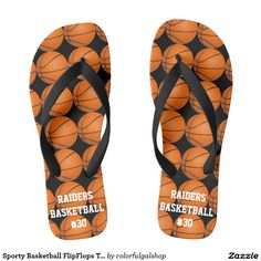 634a57229fd0 Sporty Basketball FlipFlops Team Player Name Flip Flops Personalized  Basketball