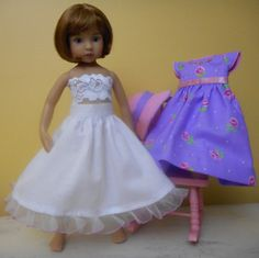 """Fine craft hand embroidered dress, matching hat and half-slip petticoat for the Dianna Effner 13"""" Little Darling dolls."""