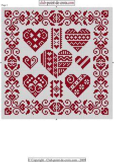 Tiny Cross Stitch, Cross Stitch Heart, Simple Cross Stitch, Cross Stitch Borders, Cross Stitch Designs, Cross Stitching, Blackwork Embroidery, Cross Stitch Embroidery, Crochet Motif Patterns