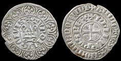 Coins of Knights Templar France - Philip IV Le Bel, 1268-1314 AD. Silver maille tierce a l'o rond, struck 1306 AD. Cross pattée, + BNDICTV : SIT : NOmEn DOmInI, + PhILIPPVS REX / Chatel tournois; border of twelve lis, + TVRONVS CIVIS.