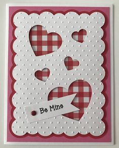This handmade card is full of special touches! All my cards are made from high quality cardstock and supplies! Pattern paper may change depending on availability! All cards include an envelope! Wording... Outside ~ Be Mine Inside ~ Happy Valentines Day! Special features ~ 3D,