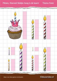 Kaarsen meten , thema feest voor kleuters, juf Petra van kleuteridee, Preschool candle measuring , free printable.