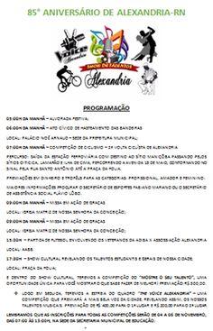 RN POLITICA EM DIA: PROGRAMAÇÃO AOS 85 ANOS DE ALEXANDRIA - RN.