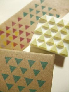 geometric hand carved rubber stamp. hand carved stamp. triangles. handmade.. $9,00, via Etsy.