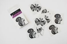 A dozen temporary tattoos make great birthday party favors or group activities. Easy to apply and easy to remove with rubbing alcohol or baby oil. Instructions included on each tattoo. Measures 2x2 inches.  This listing is for 4 each of 3 animals - squirrel, ladybug and butterfly.