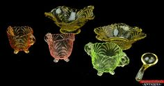 Rare Depression Glass Yellow, Amber, Green, Pink Cream/Sugar Candy Mayo Bowl Set