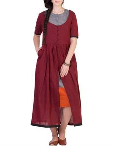 Maroon Tunic With Grey Inner l Shop at: http://www.thesecretlabel.com/ans-by-astha-n-sidharth
