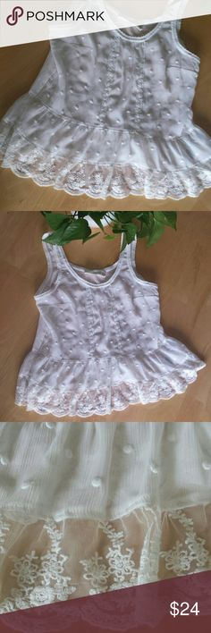 """Abercrombie & Fitch White Polka Dot Lace Tank Abercrombie & Fitch White Polka Dot Lace Tank Top. Absolutely adorable sheer white polka dot fabric trimmed with whispering white lace. Charming scalloped edge detail on scoop neck and around armholes. Pleated front detail with lace. Playful ruffled bottom. XS Great condition. Approx: flat lay: 17"""" armpit to armpit, 23"""" shoulder to hem. Too adorable to pass up! Abercrombie & Fitch Tops Tank Tops"""