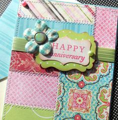 Anniversary Card with Matching Embellished Envelope - made with Kelly Panacci Blossom scrapbook collection - via Etsy. Happy Anniversary, Anniversary Cards, Card Book, Creative Cards, Paper Design, Envelopes, Hand Stamped, Birthday Cards, Initials