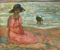 Henri Lebasque Jeune fille assise au bord de la mer (c. Mother and child at the beach Camille Pissarro, Henri Matisse, Renoir, Modern Art, Contemporary Art, Impressionism Art, Am Meer, French Artists, Traditional Art