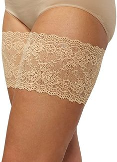 Bandelettes Elastic Anti-Chafing Thigh Bands - Prevent Thigh Chafing - Beige Onyx, Size A Thigh Chafing, Under The Skirt, Under Dress, Anti Chafing Underwear, Thighs Rubbing Together, Anti Chafing Shorts, Thigh Rub, Lace, Thighs