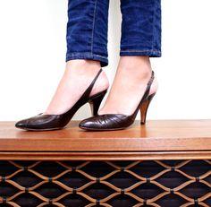 Vintage Brown Leather High Heels  Size 5 1/2 Designer Bally by Maejean Vintage, $25.00