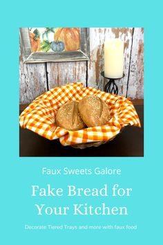 Faux food is trending right now as a great accessory in the kitchen or dining room. Kitchen Display, Kitchen Decor, Bread Display, Fake Cupcakes, Meringue Cookies, Tiered Stand, Fake Food, French Country Decorating, Photo Props