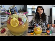 Triple Sec 2 oz. Pineapple Juice Bottle of Orange Juice Orange Slices Lime Slices Strawberries 24 oz. Party Drinks, Fun Drinks, Alcoholic Drinks, Beverages, Cocktails, Winter Drinks, Summer Drinks, Fishbowl Drink, Tipsy Bartender