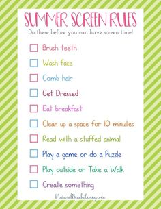 The Perfect Summer Rules for Kids – Screen Free Time – Natural Beach Living – Summer Activities for Kids – Grandcrafter – DIY Christmas Ideas ♥ Homes Decoration Ideas Summer Checklist, Summer Schedule, Kids Schedule, Summer Activities For Kids, Free Activities, Summer Kids, Free Summer, Rules For Kids, Chores For Kids