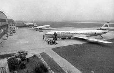 1955-1976, als der zivile Flugverkehr noch auf der militärischen Seite des Flughafen abgefertigt wurde..... im Bild 3 Sud Aviation Caravelle