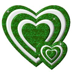 TWO GREEN AND WHITE HEARTS THAT SPARKLE !!!!