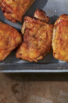 To make these crispy chicken thights, sprinkle salt on the them ahead of time, and chill in the fridge to pull out excess water—an easy way to guarantee tender meat and crisp skin. Recipe: Crispy Salt-and-Pepper Grilled Chicken Thighs