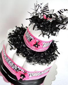 """Zebra Diaper Cake - """"Little Diva"""" Hot Pink & Black Zebra Bling Baby Girl Diaper Cake Centerpiece - Mini Diaper Cake - http://www.babyshower-decorations.com/zebra-diaper-cake-little-diva-hot-pink-black-zebra-bling-baby-girl-diaper-cake-centerpiece-mini-diaper-cake.html"""