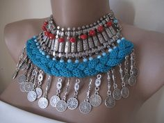 Authentic ethnic necklace-earring, mixed knitting- metal work. $60.00