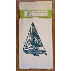 ArtGoodies Organic Block Print Sailboat Tea Towel  - MADE IN THE USA - Available at www.cooltobuyamerican.com