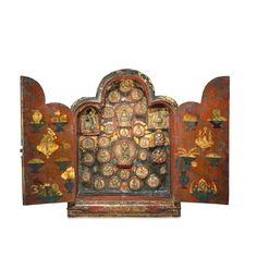 Portable shrine  From Tibet  19th century AD  A portable Buddhist shrine from the Land of Snows