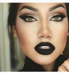 Black Eyeshadow And Matte Black Lipstick ❤ Gorgeous Makeup, Pretty Makeup, Love Makeup, Makeup Inspo, Makeup Inspiration, Beauty Makeup, Hair Makeup, Lipsticks, Eyeshadow Makeup