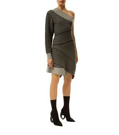 Burberry Runway Cable Knit One Shoulder Dress