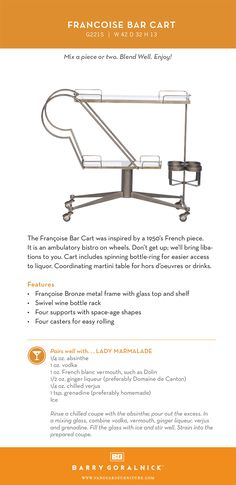 The Francoise Bar Cart.simply must be experienced! Preferably with a Lady Marmalade in-hand. Marmalade, Bar Cart, Lighting, Lady, Furniture, Light Fixtures, Lights, Home Furnishings, Lightning