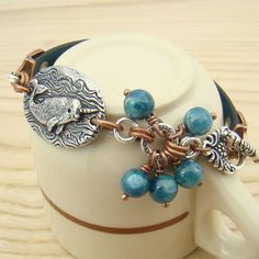Blue narwhal bracelet copper silver mixed by laurelmoonjewelry, $26.00
