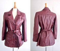 70's Etienne Aigner Oxblood Mod Leather Jacket by ElkHugsVintage, $59.00