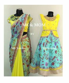 Mom Daughter Matching Dresses, Mom And Baby Dresses, Kids Party Wear Dresses, Kids Dress Wear, Little Girl Dresses, Mother Daughter Fashion, Kids Lehenga, Kids Frocks, Kind Mode