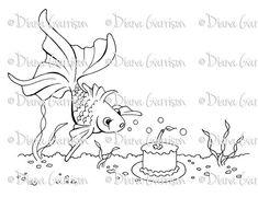 Birthday Fish Digi Digital Stamp by crookedlittlestudio on Etsy
