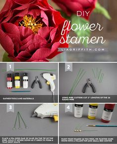 DIY Flower Stamens (Video) - Lia Griffith - www.liagriffith.com #diyinspiration #paperflower #paperflowers #paperart #diyproject #diyprojects #flowerstamens #madewithlia