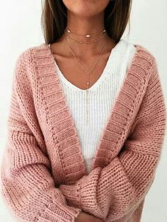 cozy inspiration_sweater + pink knit cardigan