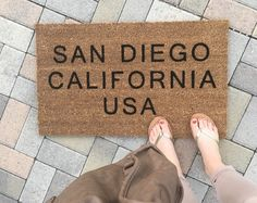 Personalized City + State doormat / Hand painted, custom doormat / Housewarming Gift / Wedding Gift / Fall Decor / Unique Gift / Boyfriend