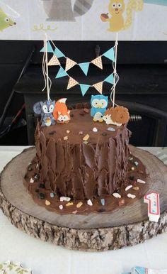 Woodland birthday party, 1st birthday cake