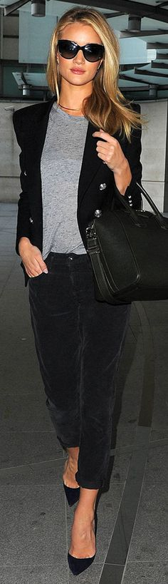 Rosie Huntington-Whiteley:  grey and black causal chic