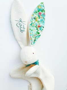 Unlikely the bunny lovey a free sewing pattern with illustrated heirloom baby toy personalized gift soft and sweet bunny organic cotton liberty of london betsy floral print green bunny lovey negle Gallery