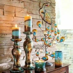 Peacock candle decor