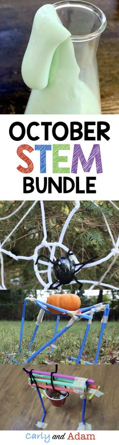October STEM Bundle includes 4 Spooktacular STEM Activities: Pumpkin Stand STEM, Spider Web STEM, Spooky Slime STEM, and Marble Cauldron STEM.