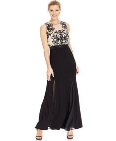 Betsy & Adam Lace Bodice Formal Dress with Illusion Godets