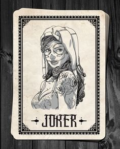 Stephen Lewis is raising funds for Day of the Dolls - Pin-Up Playing Cards Deck RELAUNCH! on Kickstarter! Classic Pin-up Playing Cards inspired by The Day of the Dead. Playing Card Tattoos, Joker Playing Card, Playing Cards Art, Harley Quinn, Joker Card Tattoo, Wicked Jester, Poker Tattoo, Card Tattoo Designs, Tarot