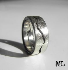 Awesome for the snowboard couple! Custom Mountain Range Ring with STORM Texture by BentMLjewelry