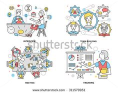Flat line illustration set of human resources training progress, mentor coaching people for rise potential, business team building process. Modern design vector concept, isolated on white background.