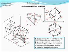 Dibujo técnico  Sistema diédrico  2.º Bachillerato  Hexaedro apoyado por un vértice  1. Se determina el radio r del hexágo...