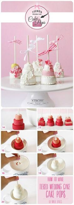 How to make tiered wedding cake pops. I don't really make stuff like this, but it's too cute not to pin! Beautiful Cakes, Amazing Cakes, Amazing Art, Mini Cakes, Cupcake Cakes, Petit Cake, Wedding Cake Pops, Mini Wedding Cakes, Mini Desserts