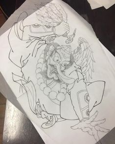 A simple one for a rib piece . Japanese Tattoo Art, Japanese Tattoo Designs, Japanese Design, Tengu Tattoo, Samurai Tattoo, Asian Tattoos, Japan Tattoo, Oriental Tattoo, Leg Sleeves